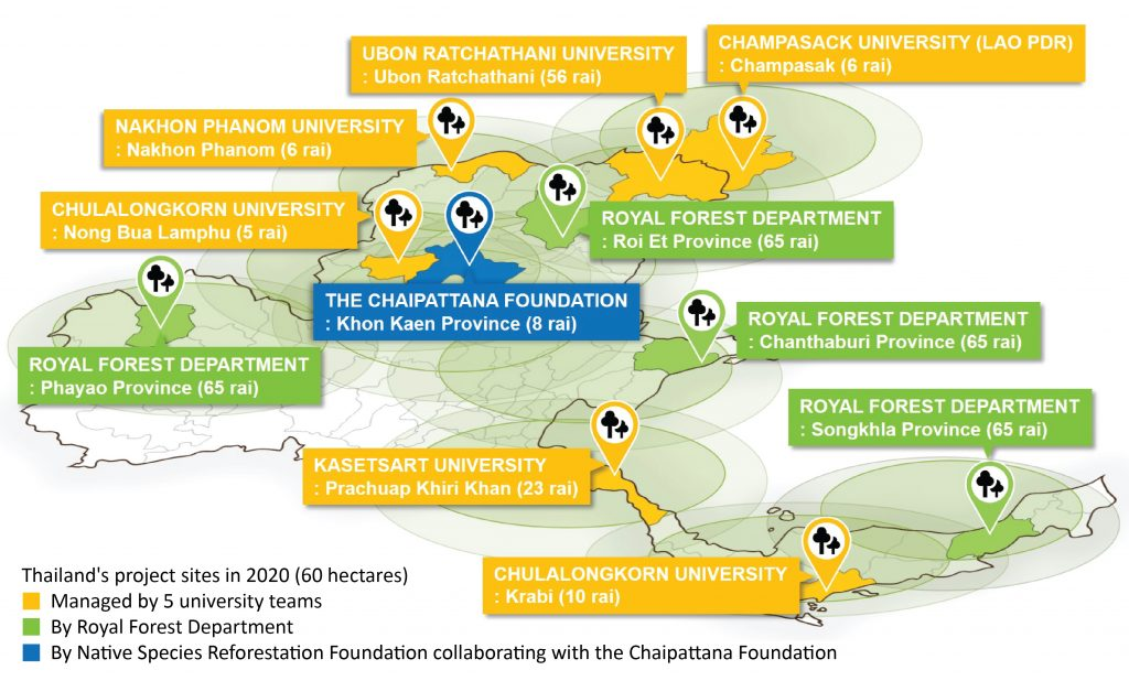 Map of reforestation sites in Thailand, 2020